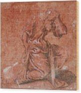 A Bearded Saint Kneeling Wood Print