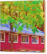 A Beautiful Country Building In The Fall 1 Wood Print