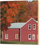 A Beautiful Country Building In The Fall 2 Wood Print