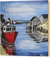 A Beautiful Day At Peggy's Cove  Wood Print