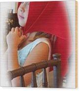 A Beautiful Girl Dreaming Wood Print