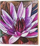 A Beautiful Purple Water Lilies Flower Wood Print