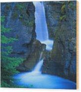 A Beautiful Waterfall, Johnston Canyon Wood Print