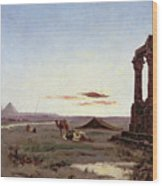 A Bedouin Encampment By A Ruined Temple  Wood Print