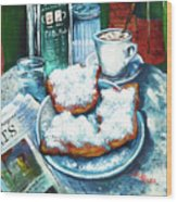 A Beignet Morning Wood Print