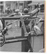 A Bicycle Parked At Fence, Netherlands Wood Print