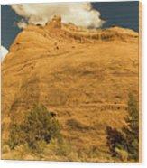 A Big Mountainous Rock On The Gemini Trail Moab Utah  Wood Print