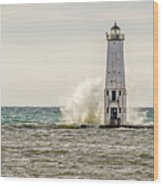 A Big Wave Crashes Into The Frankfort Light Wood Print