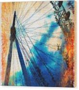 A Big Wheel Roller Coaster Ride Under A Sunset Wood Print