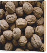 A Bin Of Walnuts At A Fruit Stand Wood Print