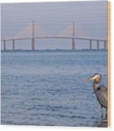 A Bird And A Bridge Wood Print