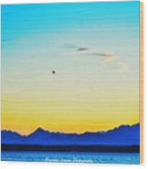 A Bird In The Sky At Sunset Wood Print