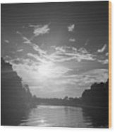 A Black And White Sunset Wood Print