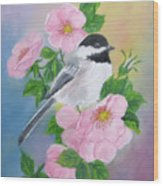 A Blackcapped Chickadee And Roses Wood Print