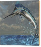 A Blue Marlin Flashes Its Iridescent Wood Print