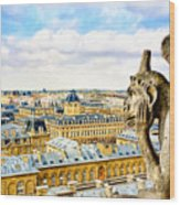 A Bored Gargoyle Sees Paris Wood Print by Mark E Tisdale