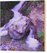 A Boulder Splitting The Rocks Wood Print