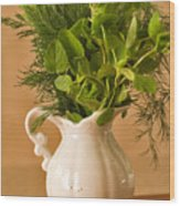 A Bouquet Of Fresh Herbs In A Tiny Jug Wood Print