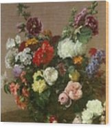 A Bouquet Of Mixed Flowers Wood Print