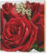 A Bouquet Of Red Roses Wood Print