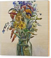 A Bouquet Of Wild Flowers In A Glass Jar. Wood Print