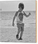 A Boy And His Beach Wood Print