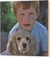 A Boy And His Dog With Evidence Of Stolen Brownie Wood Print