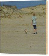 A Boy And His Pug Wood Print
