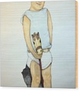 A Boy On A Stickhorse Wood Print