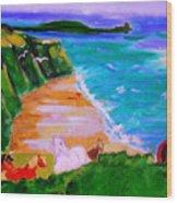 A Breezy Day At Rhosilli Bay Wood Print