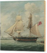 A Brig Entering Liverpool Wood Print by John Jenkinson