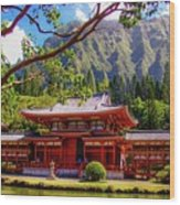 Buddhist Temple - Oahu, Hawaii - Wood Print