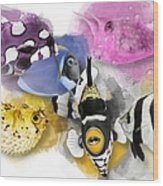 A Bunch Of Colorful Fish No 01 Wood Print