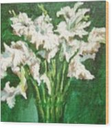 A Bunch Of White Gladioli Wood Print