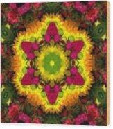 A Burst Of Flowers Kaleidoscope Wood Print