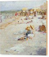 A Busy Beach In Summer Wood Print