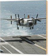 A C-2a Greyhound Prepares To Land Wood Print