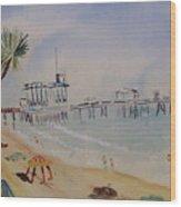 A California Pier Wood Print