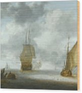 A Calm Sea With A Man Of War And A Fishing Boat Wood Print