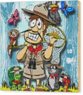 A Camping We Will Go Wood Print