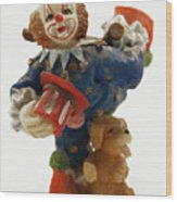 A Candy Colored Clown Wood Print