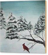 A Cardinals Perch Wood Print