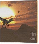 A Carnivorous Allosaurus Calling Wood Print