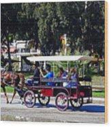 A Carriage Ride Through The Streets Of Katakolon Greece Wood Print