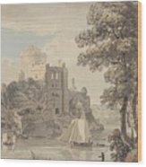 A Castle On A River Wood Print