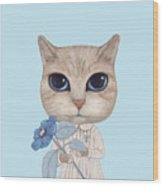 A Cat With A Blue Flower On White Wood Print