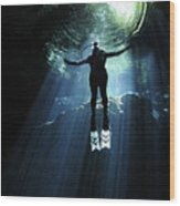 A Cavern Diver Ascends In The Cenote Wood Print by Karen Doody