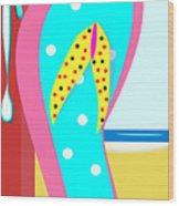 A Chancla On The Beach Wood Print