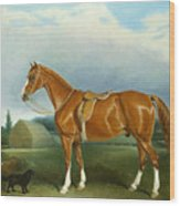 A Chestnut Hunter And A Spaniel By Farm Buildings  Wood Print by John E Ferneley