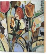 A Child Among Flowers Wood Print by Therese AbouNader